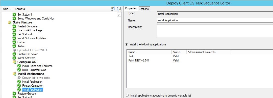 SCCM Task Sequence