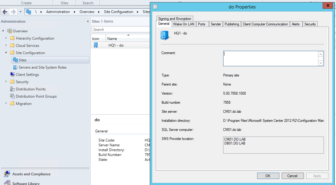 SCCM Site Properties