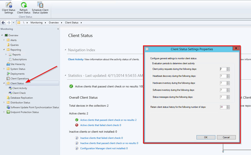 How to configure client activity settings in ConfigMgr