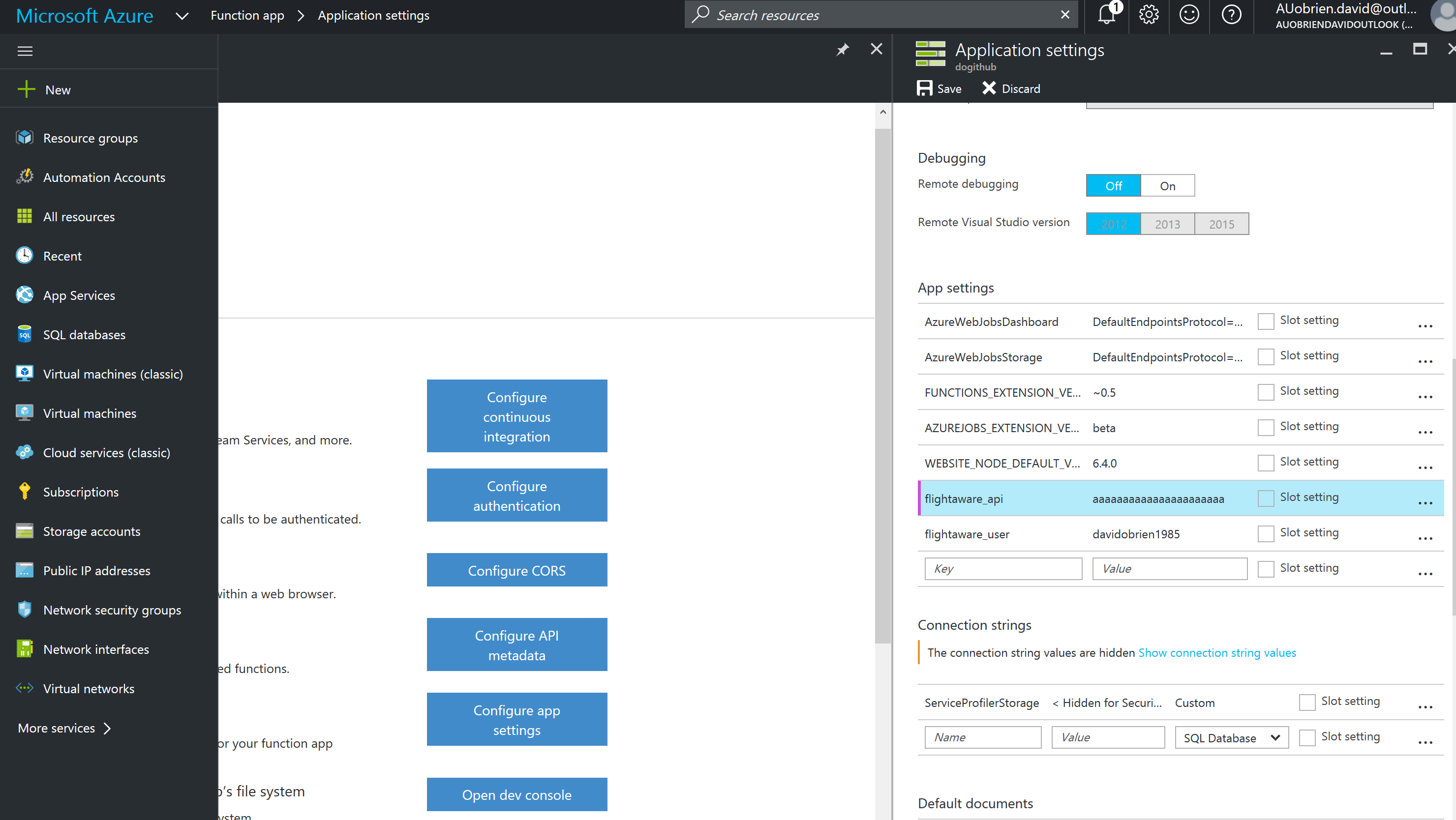 Azure Functions environment variables
