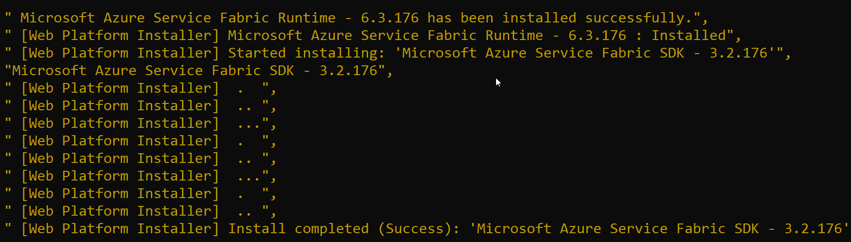 Azure Service Fabric SDK installation