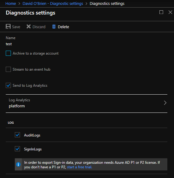azure ad diagnostics settings