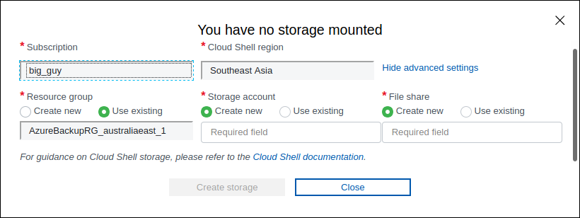azure cloud shell create